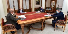 Luca Deidda, Massimo Carpinelli, Giuseppe Cuccurese e Giacomo Spissu_Firma convenzione per dottorati di ricerca Uniss