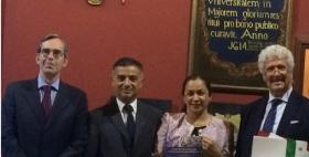 Da sx Ambasciatore Mauro Marsili, Luciano Gutierrez Direttore NRD, Vice Presidente Perù Marisol Espinoza Cruz e Giuseppe Enne