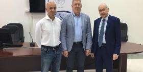 Gli imprenditori Stefano Sardara e Giommaria Pinna con il Direttore del Dipartimento di Giurisprudenza dell'Università di Sassari Gian Paolo Demuro