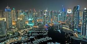 Dubai vista notturna grattacieli