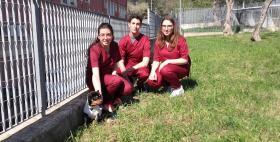 Il cane Fuego con Ludovica, Benedetta e Filippo, studenti di Medicina veterinaria Uniss