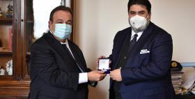 Il professor Gavino Mariotti in visita dal Presidente della Regione Christian Solinas