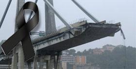 Immagine del crollo del ponte Morandi di Genova