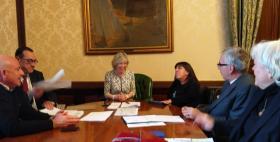 Massimo Carpinelli con il Ministro Stefania Giannini, Francesco Pigliaru, Claudia Firino e Maria del Zompo_Foto Ufficio stampa Regione Sardegna