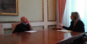 Massimo Carpinelli e Maria Carmela Solinas durante la registrazione di Figli d'Europa