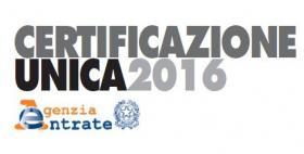 certificazione unica 2016