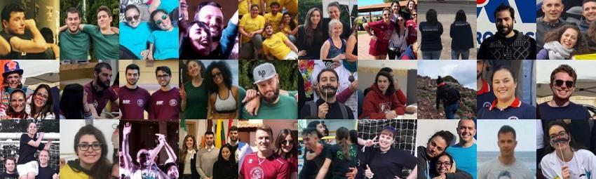 Composizione di foto con rappresentanti delle associazioni studentesche Uniss in posa