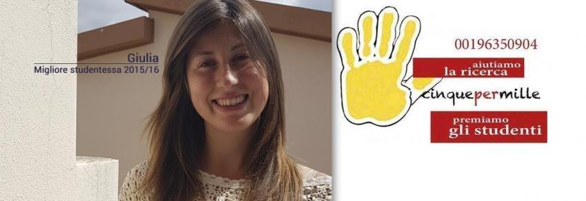 Giulia, migliore studentessa 2015/2016